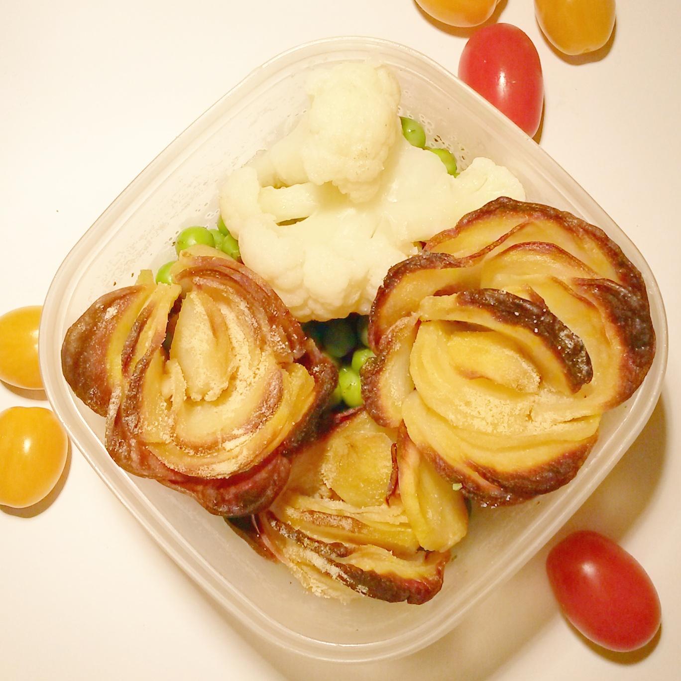 Krumplirózsa párolt zöldségekkel