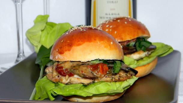 Gombás mini hamburger
