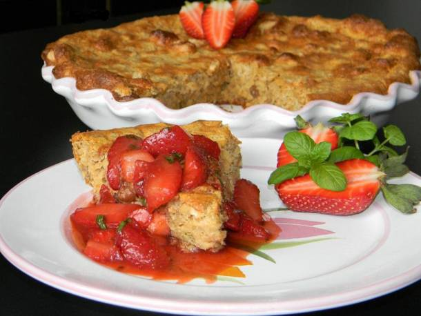 Fűszeres-epres zabpehely torta