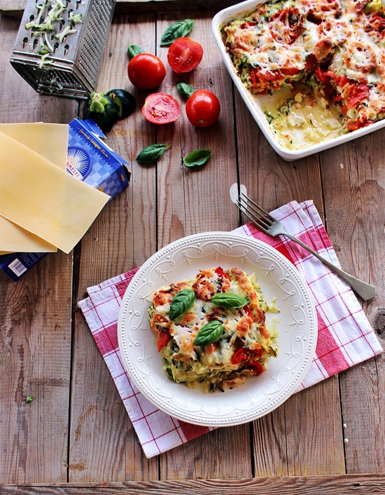Cukkinis-paradicsomos lasagne
