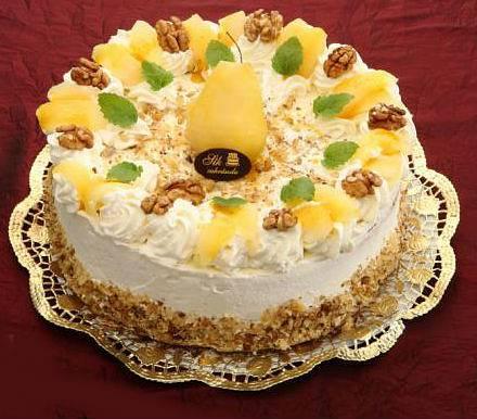 Diópürés, körtés sütemény