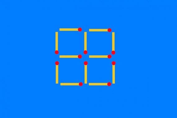 3.Másold le ezt négyzetekből álló alakzatot gyufából, majd vegyél el belőle kettő darab gyufát úgy, hogy végül csak kettő darab gyufanégyzeted maradjon! Több gyufát nem mozdíthatsz el!