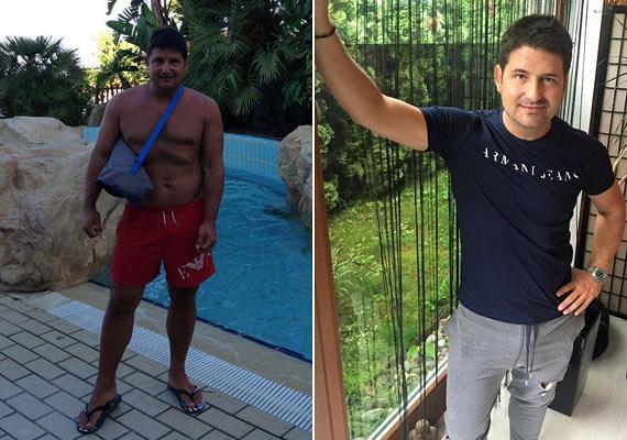 Hajdú Péter megelégelte a pluszkilókat, és úgy döntött, fogyókúrába kezd. A tavaly készült, bal oldali fotón még 10 kilóval nehezebben, míg a jobb oldalin már lefogyva és izmosan látható.
