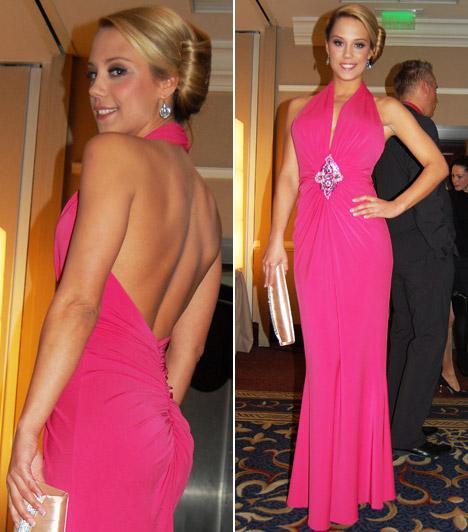 Magyar sztárok pink ruhában