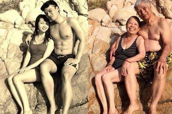 1963-ban ugyanazon a sziklán ülve fotózkodott ez az ázsiai pár, mint 2014-ben. Bár ők maguk sokat változhattak, a kettejük közt lévő kötelék szemmel láthatóan ugyanaz, sőt.