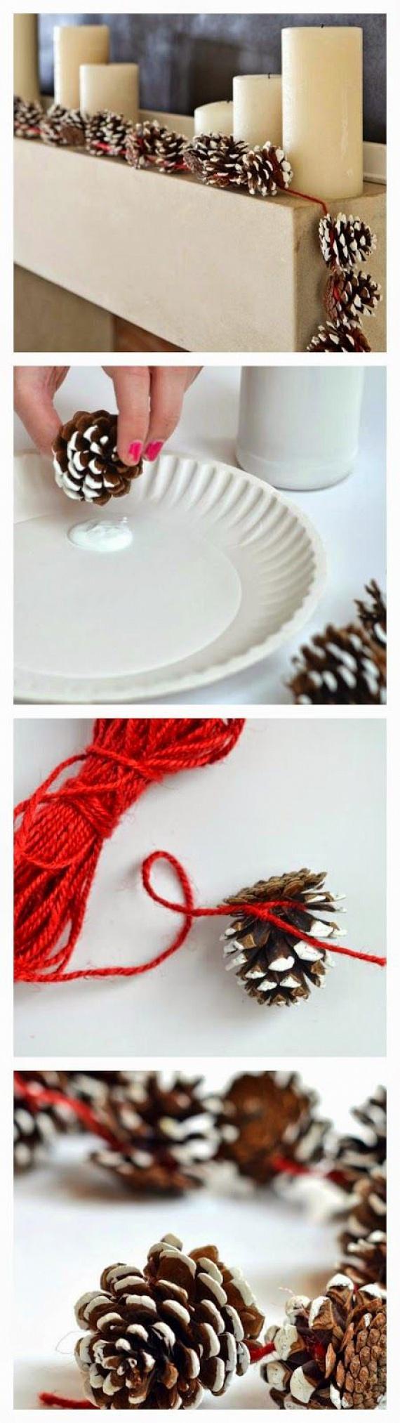Látványos és kreatív: készíts tobozokból füzért, amelyet a kandalló párkányán vagy a karácsonyfán is könnyedén elhelyezhetsz. Vigyél fel egy kis fehér festéket a tobozok széleire és aljára, majd kösd őket össze egy hosszú, piros szalaggal vagy fonallal, és már díszítheted is vele a lakást.