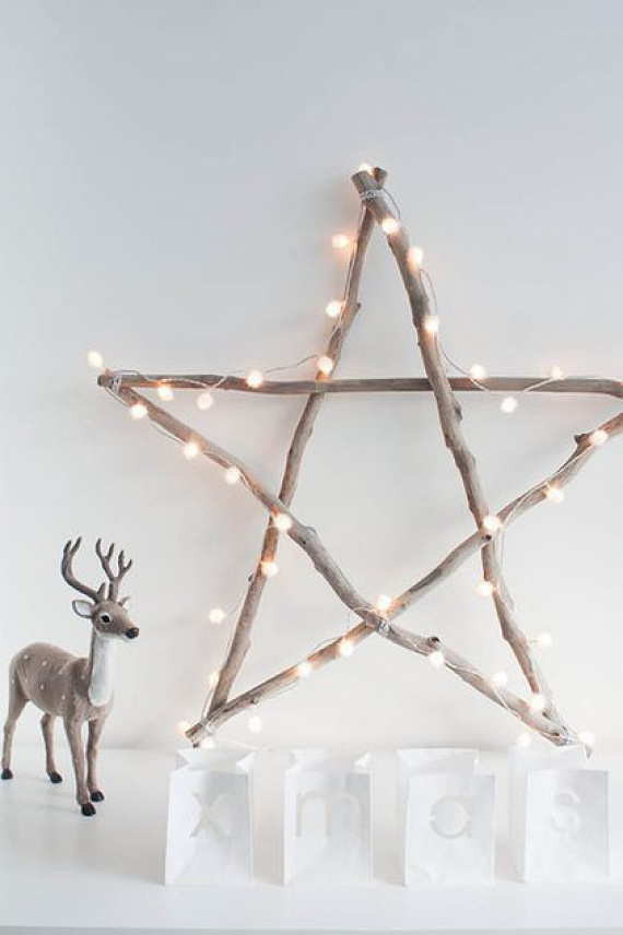 Neked is van olyan égősorod, amit nem teszel a karácsonyfára, de sajnálnád, ha a sarokban heverne? Adj neki új értelmet! Ha összegyűjtesz 5 gallyat, és némi spárgával összekötözöd, az elkészült csillagot tetszés szerint ékesítheted vele.