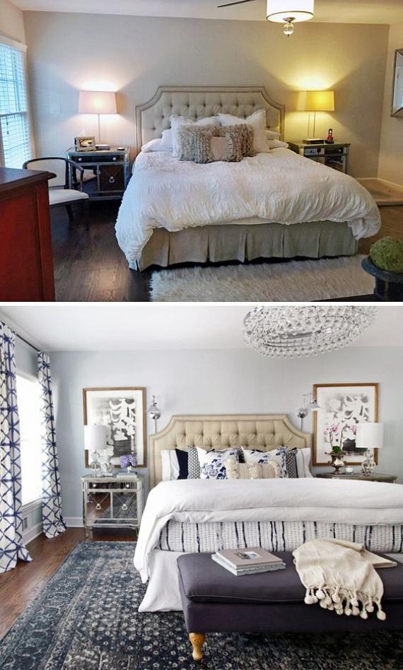Ennél a hálószobánál az elrendezés ugyanaz maradt, csupán a textíliákat és a lámpákat cserélték le, és egy-egy kép került fel pluszban a falakra, a változás mégis elképesztően látványos. Figyeld meg a szőnyeg elhelyezését, a függöny, az ágytakaró és a párnák összhangját.