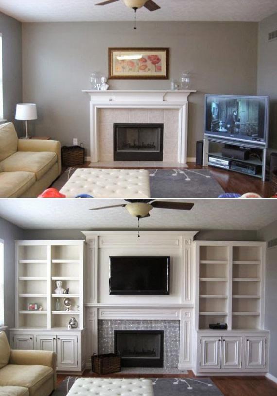 A kandalló vagy a látványkandalló egyaránt otthonossá tehet egy nappalit, érdemes a középpontba helyezni. Ha tengelybe rendezed a tévével, akkor nagyon mutatós, ha beépített könyvszekrényt építesz köréjük. Figyeld meg, hogy ez a megoldás mennyivel tágasabbá is tette a teret.