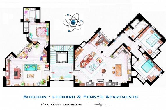 Végül egy aktuálisabb kedvenc a messzi Pasadenából: jobbra Sheldon és Leonard, balra Penny lakása látható az Agymenőkből. Ha szeretnél még több alaprajzot megnézni a leghíresebb sorozatokból, filmekből, kattints ide!