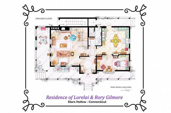 New Yorktól kissé távolabb így fest Lorelai és Rory Gilmore Stars Hollow-i otthonának földszintje a Gilmore Girls - Szívek szállodája - című sorozatból.