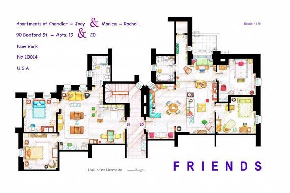 A Jóbarátokban szereplő, két egymással szemben nyíló lakás szinte minden szegletét ismeri az, aki egykor nyomon követte a hat fiatal életét. Balra Chandler és Joey, jobbra pedig Monica és Rachel lakásának alaprajza látható.