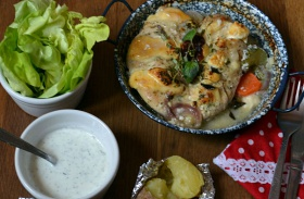 Duplasajtos, zöldséges csirkemell