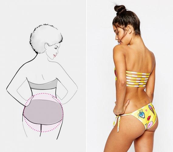 Kim Kardashiannek és Jennifer Lopeznek köszönhetően a kerek, csípőtől gömbölyödő fenékformára áhítoznak a legtöbben. A magasan kivágott combrész mellé próbálj meg olyan darabokat találni, amelyeknek viszonylag sok anyag van a fenékrészében, és kevés elöl, így nem fog lógni vagy bevágni a bikini. Ha kerek popsid, de kisebb cicijeid vannak, keress olyan boltokat, ahol külön árusítják az alsó- és felsőrészeket, ugyanis a méreteid jó eséllyel különböznek!
