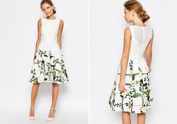 Idén háttérbe szorulnak a vintage stílusú, apró mintákkal borított ruhák, ennek megfelelően pedig jóval nagyobb méretű virágok jellemzik majd a szoknyákat is. Olykor a minta nem a teljes ruhafelületet díszíti, csak egy részét, ahogy azt a fenti darabon is láthatod.