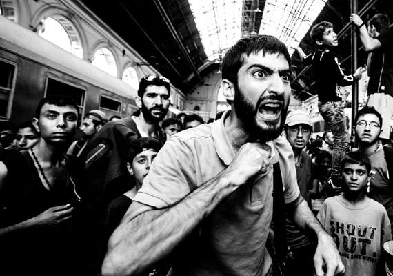 A kép szerzője Balogh Zoltán, aki a Krízis a Keleti pályudvaron című sorozatával első díjat nyert menekültválság kategóriában.