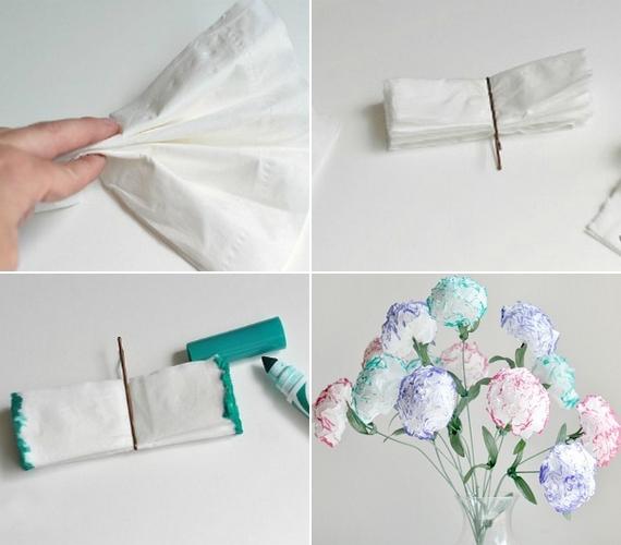 Nem tudsz virágot venni? Készíts szalvétából! Hajtsd össze legyezőalakban a papírt, a közepét tűzd meg hullámcsattal, majd vágd rövidebbre a végeit. Színezd meg filctollal, és hajtsd szét! Csokorként és füzérként is nagyon szép.