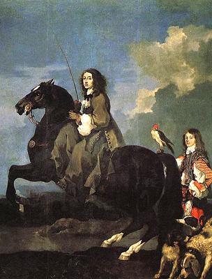 Krisztina lovon, Sébastien Bourdon festménye