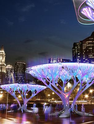 A mesterséges fák éjszakai világítása