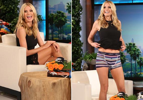 Pillanatok alatt felrántotta a ruháját a modell, hogy megmutassa a nézőknek, hogy áll rajta az Ellen márkájú boxeralsó.