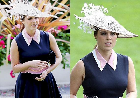 Eugénia yorki hercegnő, II. Erzsébet egyik unokája Roksanda Ilincic mélykék és pink színű galléros darabjába bújt, ehhez hófehér színű kalapot választott.