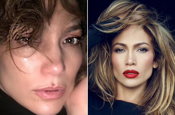 A bal oldali fotón úgy tűnik, mintha Jennifer Lopez egy kiadós sírás után lenne. A jobb oldali fotón talpig sminkben tündököl.