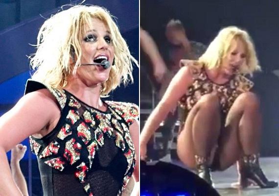 Tavaly áprilisban Britney Spears is nagyot esett koncert közben - ráadásul a bokája is kificamodott a balesetben.