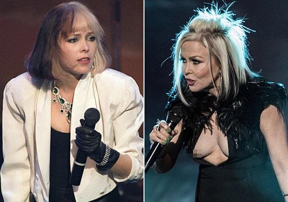 A régebben visszafogottan öltözködő énekesnő mára levetkőzte gátlásait, és 50 felett szexibb ruhákba bújik, mint fiatalon. Meg is lett az eredménye, ruhája mélyebb betekintést engedett, mint szerette volna.