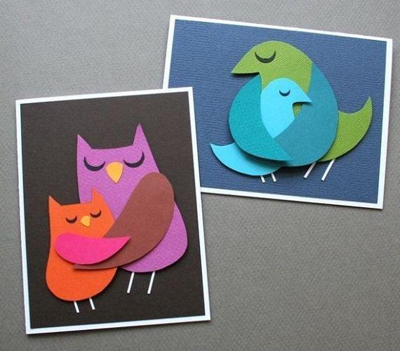 Egyszerű formákból állíthatóak össze ezek a kedves madarak és kicsinyeik.
