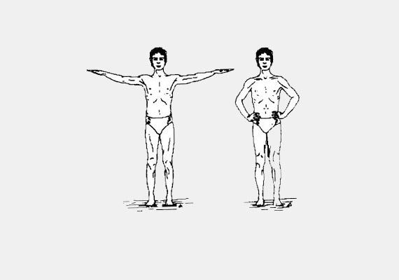 Állj egyenesen, a karok legyenek oldalsó középtartásban, a tenyerek felfelé. Ebben a helyzetben kezdj el nyitott szemmel forogni - balról jobbra -, amíg meg nem szédülsz. Forgás közben lélegezz lassan és egyenletesen. Ennek az első gyakorlatnak a célja az energiaáramlás felgyorsítása, javítja a keringést, megelőzi a fejfájást.
