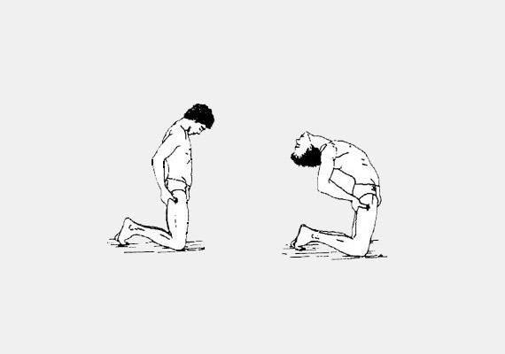 Térdelj a földön, kezeiddel kapaszkodj hátul a combjaidba, majd kilégzésre hajtsd előre a fejed - egészen addig, amíg az állad el nem éri a szegycsontod. Belégzéskor ívelten hajolj hátra. Ez a gyakorlat javítja a pajzsmirigy, a mellékvese, az emésztőrendszer és a méh működését. Erősíti a hasizmokat, mélyíti a légzést.