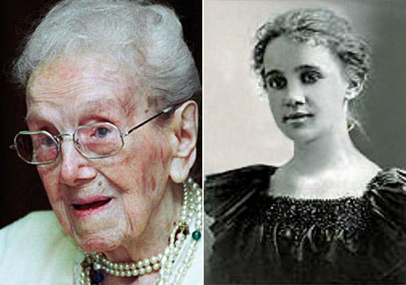 A pennsylvaniai Sarah Knauss 1880. szeptember 24-én született és 119 éves korában, 1999. augusztus 4-én hunyt el. A két fenti kép között éppen száz év a különbség: a bal oldanin 17, a jobb oldanin 117 esztendős. Sarah Knauss túlélt 23 amerikai elnököt, hosszú életének okát nyugodtságával magyarázta.