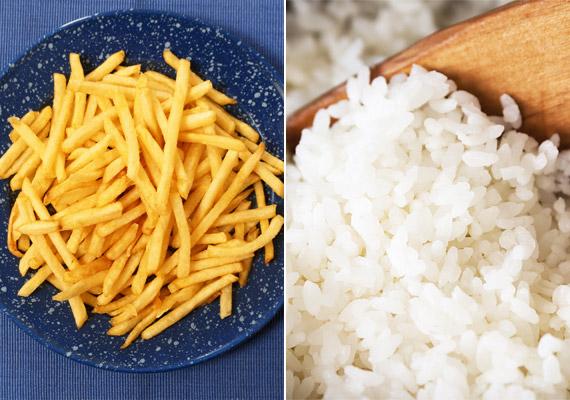 December 31-én ebédre lehetőleg ne párolt zöldséget válassz köretnek. Ilyenkor legjobb, ha olajban sült krumplira vagy rizsre szavazol. Szénhidráttartalmából adódóan mindkettő szivacsként szívja fel az alkoholt, ráadásul zsírtartama miatt a hasábburgonya tovább lassítja az alkohol felszívódását.