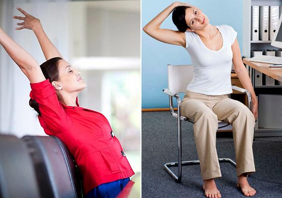 Amennyiben napod jelentős részét az íróasztal előtt görnyedve töltöd, ne csodálkozz, ha délutánra tagjaid elgémberednek, vérkeringésed lelassul és rád tör az álmosság. Ilyenkor felébreszthet néhány nyújtógyakorlat, amit akár az íróasztal mellett is végezhetsz.