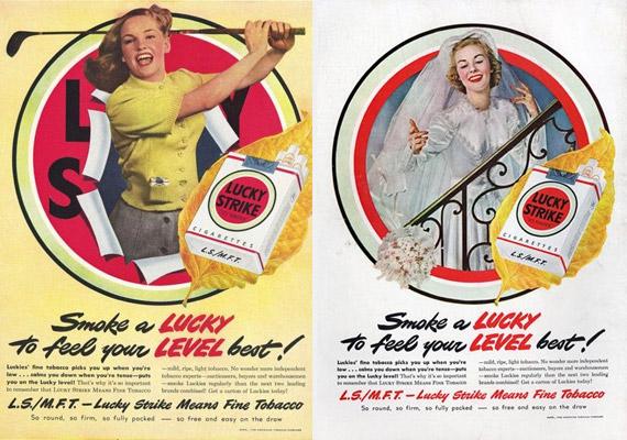 Szívj el egy Luckyt, és remekül érzed majd magad. A plakátokat nézve ez a cigarettamárka elengedhetetlen sportoláshoz és esküvőkhöz.