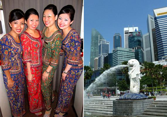 Szingapúr független ország, városállam Ázsia délkeleti részén. Az itt élők születéskor várható átlagos életkora 84,38 év. Ezt többek között az ország egészségügyi rendszerének köszönhető, melyet ma a világon a leghatékonyabbak között tartanak számon. A bal oldali képen a szingapúri légitársaság légutas-kísérőit, a jobb oldalin Szingapúr egyik jelképét, Merliont láthatod.