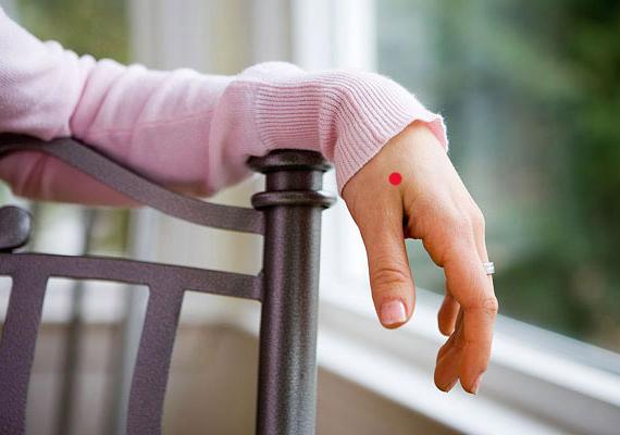 Szorítsd a hüvelykujjadat a kinyújtott mutatóujjadhoz, és figyeld meg, ahogy a két ujj közötti terület kidomborodik. Ennek a dombnak a legmagasabb pontján helyezkedik el a Vab-4-es akupresszúrás pont. Stimulálása segít enyhíteni a már kialakult megfázás tüneteit, a köhögést, a torokfájást, valamint erősíti az immunrendszert.