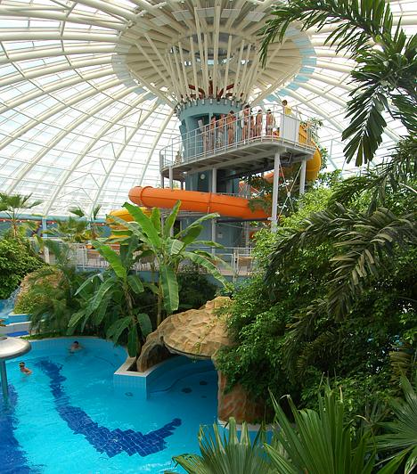 Debrecen Az Aquaticum Mediterrán Élményfürdő a debreceni Nagyerdő szívében egy 66 méter átmérőjű kupolacsarnokban található. A különleges, dús trópusi növényzettel díszített létesítményből egy zárt üvegfolyosón át közelíthető meg a Aquaticum Debrecen Termál- és Wellness Hotel****.
