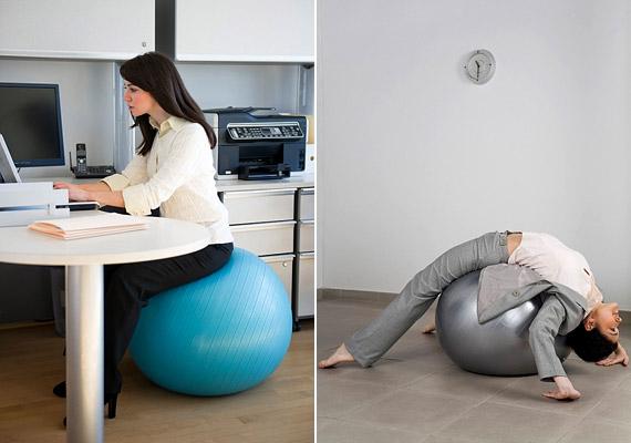 Érdemes az irodai széket fitballra cserélni. Az instabil ülőalkalmatosság folyamatos mozgást idéz elő a fenék alatt, ennek köszönhetően pedig a gerinc körüli izmokban is. Tudj meg többet a fitballról!