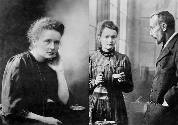 A lengyel származású francia fizikus és kémikus, Marie Curie (1867-1934) a radioaktivitás úttörőnek számító kutatója volt. 1934-ben bekövetkezett halálát szinte biztosan a káros hatású, ionizáló sugárzás okozta. Két Nobel-díjat is kapott, az elsőt 1903-ban Henri Becquerellel és a képen látható férjével, Pierre Curie-vel megosztva.