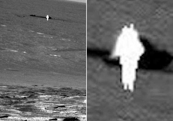 A NASA 2013-as felvételén is egy fényes alakot lehet felfedezni, aki tógaszerű ruhában áll, bal oldalán szárnya, fején antennaszerű nyúlványok - a felvétel a marsjáró Opportunity Rover segítségével készült. Egyesek szerint angyal, mások szerint UFO is lehetett.