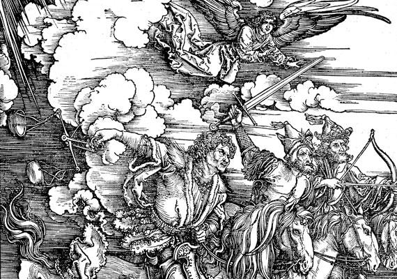 Albrecht Dürer, Az apokalipszis négy lovasa, fametszet 1497-98-ból.