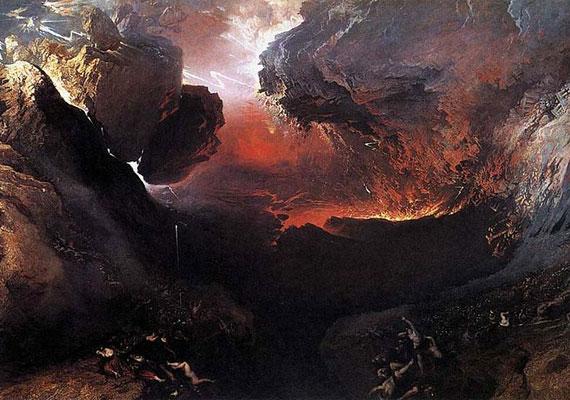 John Martin angol festő apokaliptikus víziója 1853-ból, A harag napja.