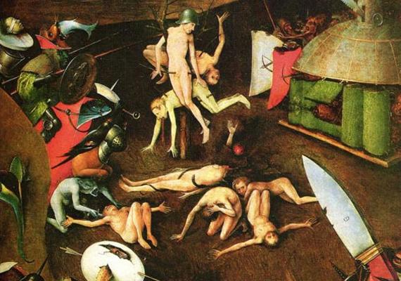 A reneszánsz egyik leghátborzongatóbb képi világú festőjének, Hieronymus Boschnak az elképzelése Az utolsó ítélet című triptichonon, a 16. század elejéről.