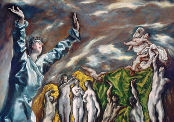 El Greco festménye, Az ötödik pecsét feltörése, mely Szent János látomását ábrázolja, 1608-14-ig készült, és a művész halála miatt befejezetlen maradt.