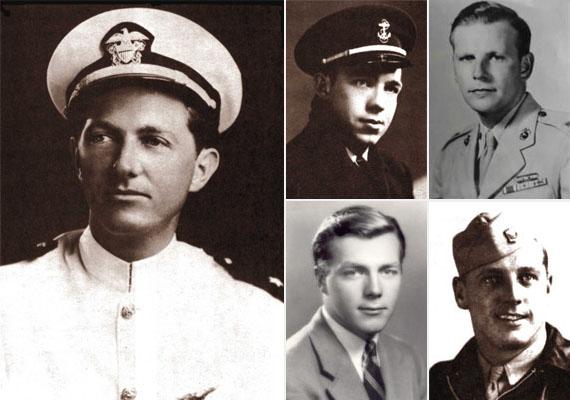 Az amerikai 19-es repülőraj vezetője Charles Carroll Taylor tartalékos hadnagy volt - balra -, aki repülőoktatóként is működött. A másik négy pilóta repülőnövendék volt, a kis képeken balra fent Joseph T. Bossi zászlós, mellette George William Stivers, alatta Edward Joseph Powers Jr. százados haditengerész, jobbra lent pedig Forrest James Gerber.