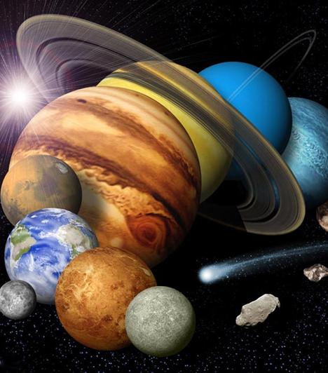 A Naprendszer  A Naprendszer működése nemcsak a csillagászokat foglalkoztatja, de az asztrológusokat is. A horoszkóp a bolygóknak a Föld egy síkjára vetített képe, melyben a fontossági sorrendet a Naptól és a Földtől való távolság határozza meg. A legközelebbi égitest, a Hold különösen sok találgatásra adott okot, és néhányan meg voltak győződve róla, hogy földönkívüli építményeket rejtenek az onnan érkező felvételek.