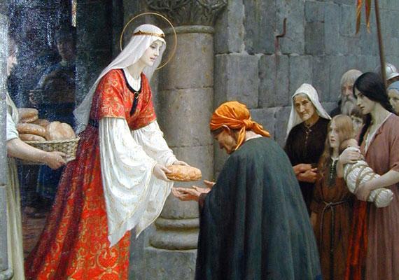 Magyarországi Szent Erzsébet 1207-ben született, II. András magyar király és Merániai Gertrúd lányaként. Jóságáról volt híres, ehhez kapcsolódik az a csoda is, melynek során a kosarában lévő kenyerek rózsává változtak - így Erzsébet nem lepleződött le tiltott tevékenységével sógora előtt.