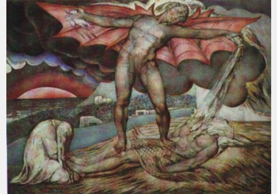 John Milton művéhez William Blake is készített illusztrációt, szintén szárnyas ördöggel.Kép: William Blake: John Milton Elveszett Paradicsomához (1808)