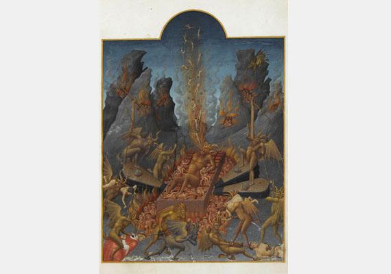 Az ördög leggyakoribb ábrázolási módja mégis a kecskeszerű jellegzetességekkel felruházott emberalak - szarvakkal, kecskelábbal, kecskeszakállal. Kép: Limbourg fivérek: A pokol (1411-1416)